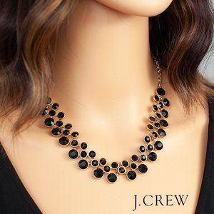 J. Crew Black Crystal Brass Statement Necklace